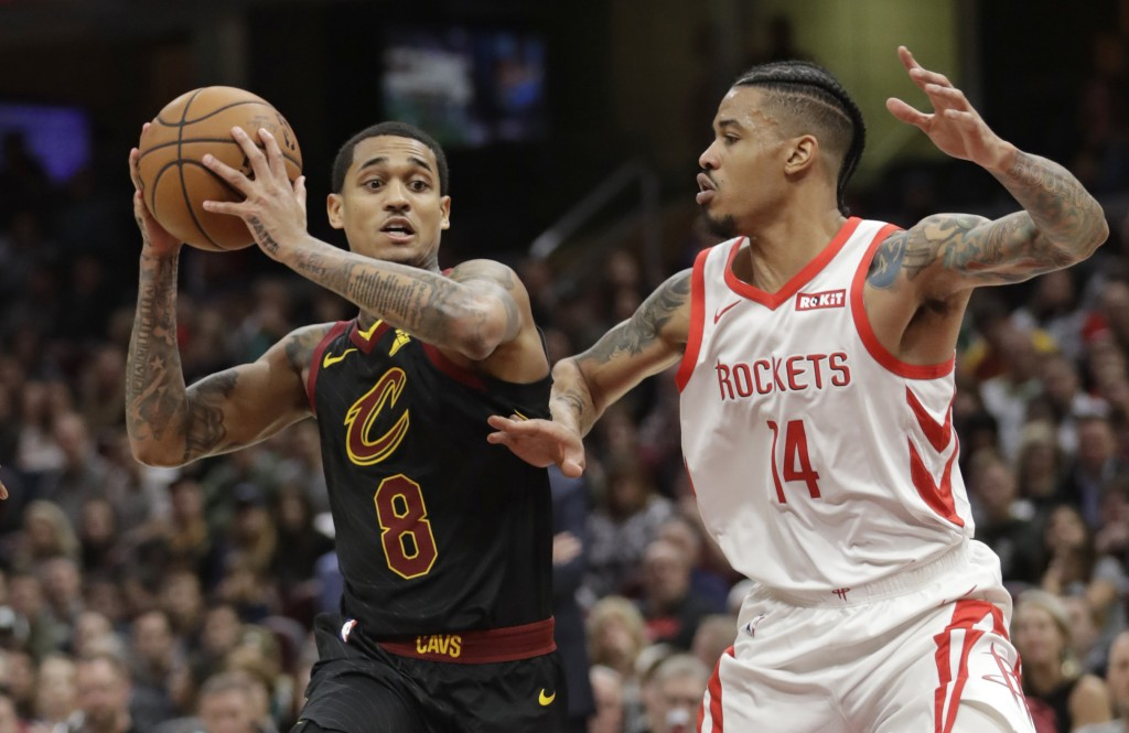 Cleveland Cavaliers' Jordan Clarkson (8) drives past Houston Rockets' Gerald Green (14) in the second half of an NBA basketball game, Saturday, Nov. 2...