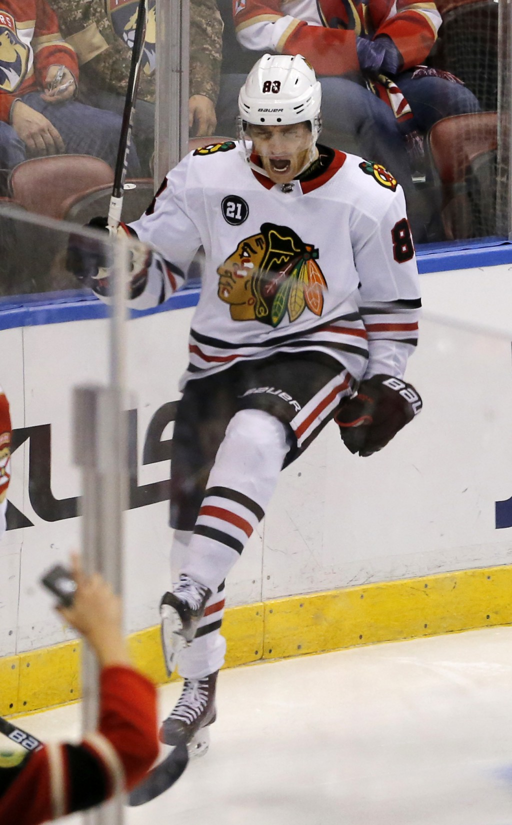 Chicago Blackhawks right wing Patrick Kane (88) celebrates his second period goal against the Florida Panthers in an NHL hockey game, Saturday, Nov. 2
