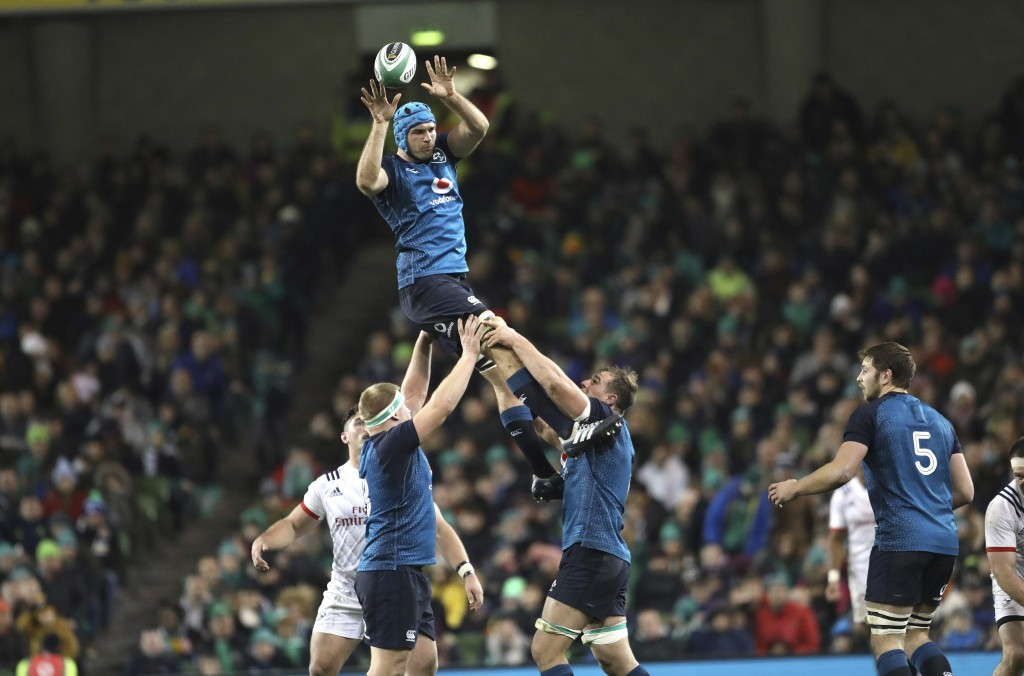 Ireland's Tadhg Beirne wins a line out against the USA during their Rugby Union International at the Aviva Stadium, Dublin, Ireland, Saturday, Nov 24,