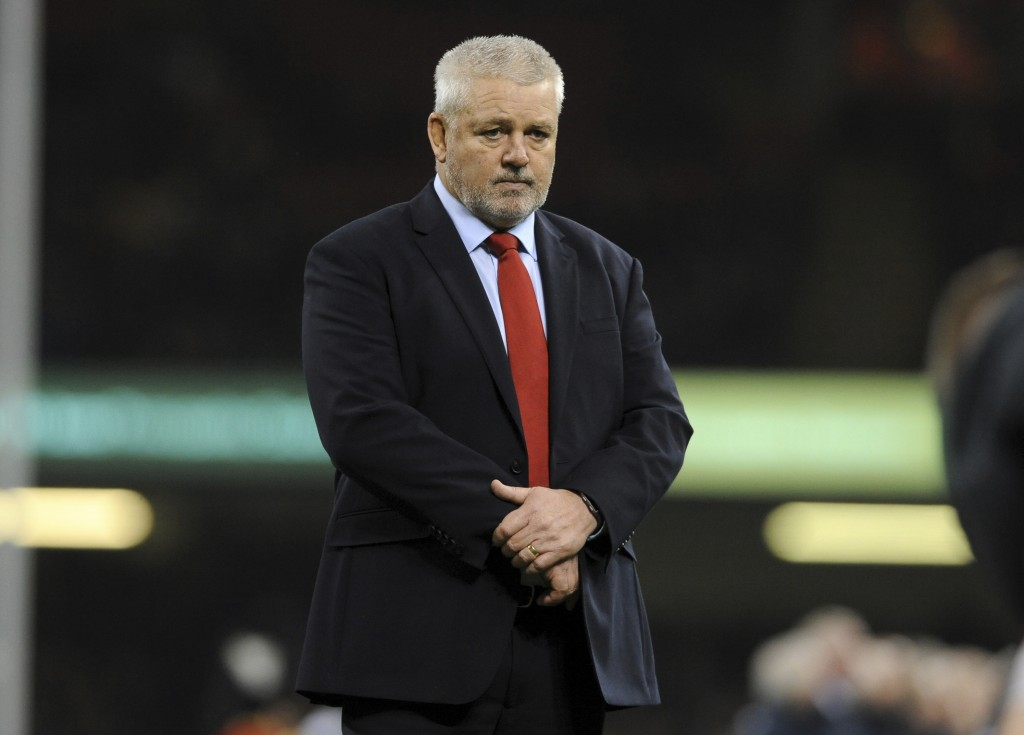 Wales head coach Warren Gatland watches his players warm-up ahead of he rugby union international match between Wales and South Africa at the Principa...