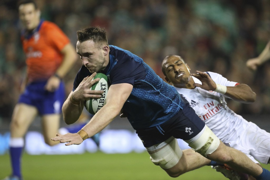 Ireland's Jack Conan breaks through to score a try against the USA during their Rugby Union International at the Aviva Stadium, Dublin, Ireland, Satur