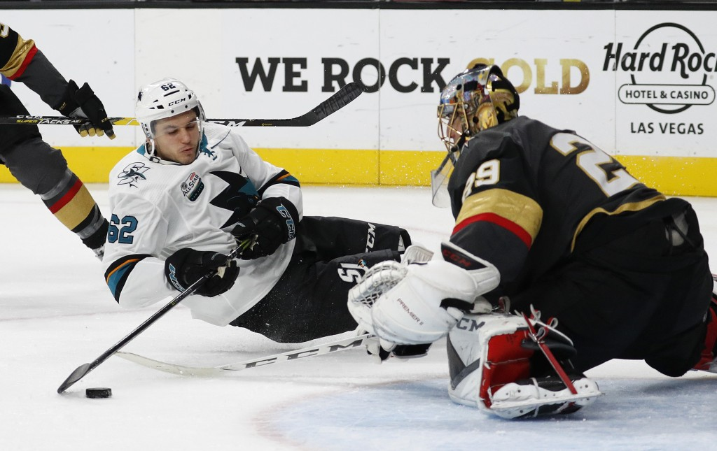 San Jose Sharks right wing Kevin Labanc (62) falls while trying to shoot on Vegas Golden Knights goaltender Marc-Andre Fleury (29) during the third pe