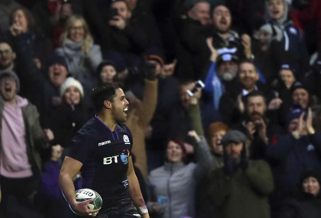 Scotland's Sean Maitland celebrates his try during the rugby union international match between Scotland and Argentina at Murrayfield stadium in Edinbu...