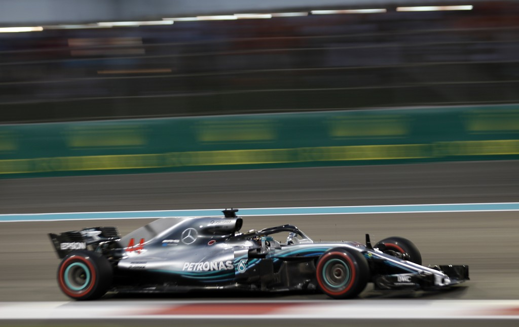 Mercedes driver Lewis Hamilton of Britain steers his car during the Emirates Formula One Grand Prix at the Yas Marina racetrack in Abu Dhabi, United A...