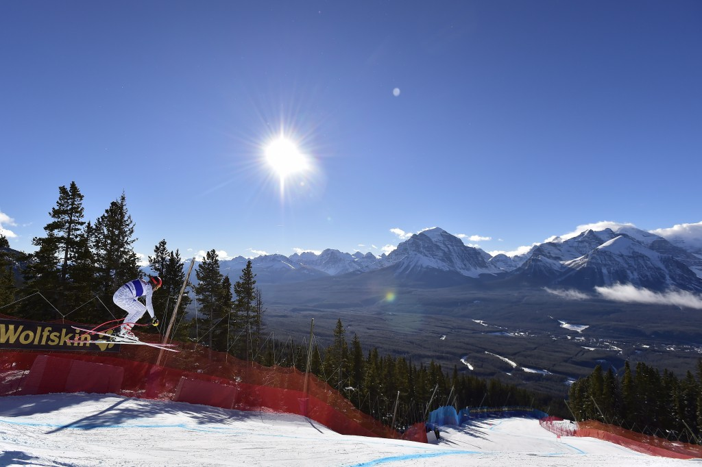Christof Innerhofer of Italy skis down the course during the men's World Cup downhill ski race in Lake Louise, Alberta, Saturday, Nov. 24, 2018. (Fran