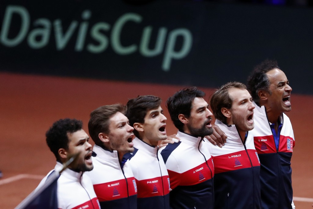 The French team, from the left, France's Jo-Wilfried Tsonga, Pierre Hughes Herbert, Nicolas Mahut, Jeremy Chardy , Lucas Pouille and team captain Yann
