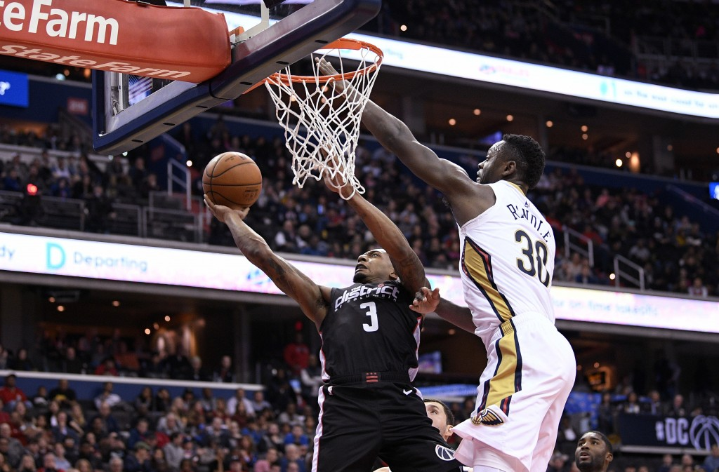 Washington Wizards guard Bradley Beal (3) goes to the basket against New Orleans Pelicans forward Julius Randle (30) during the second half of an NBA