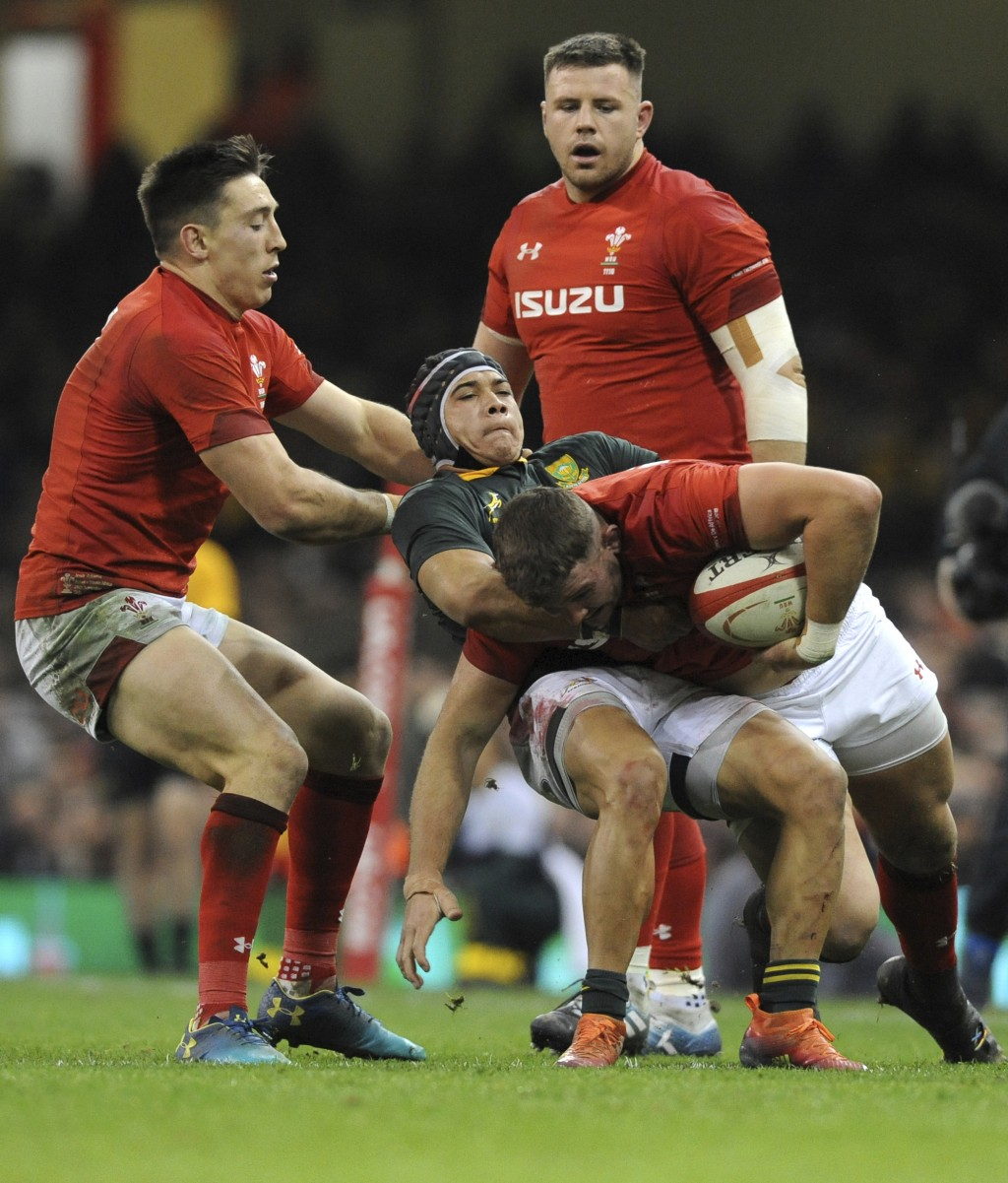 Wales Elliot Dee is tackled by South Africa's Cheslin Kolbe during the rugby union international match between Wales and South Africa at the Principal...