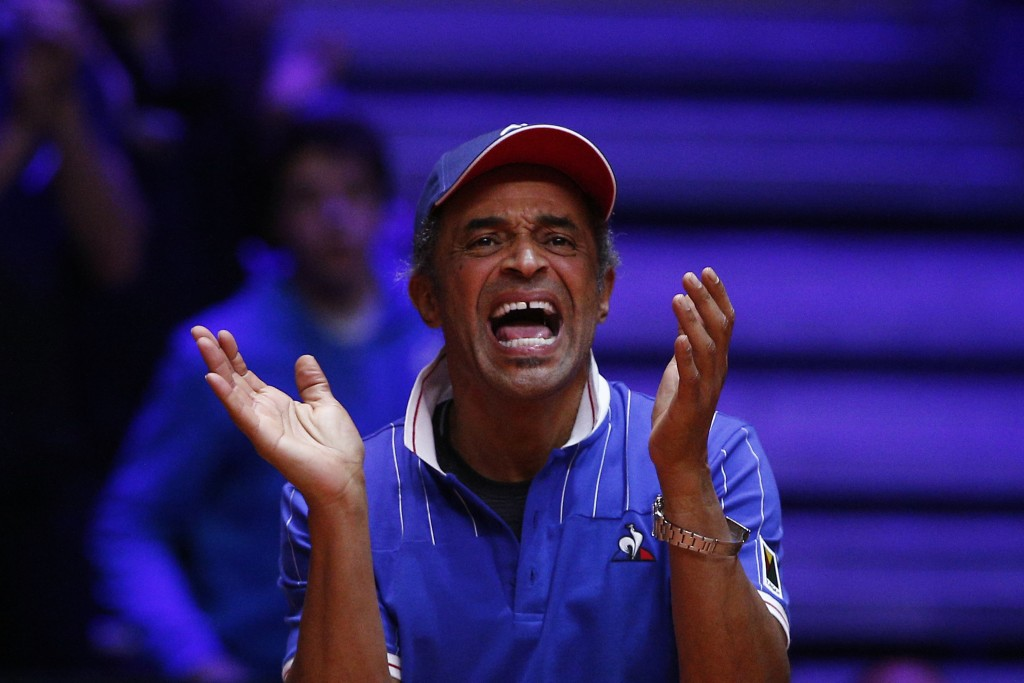 France's team captain Yannick Noah reacts during the Davis Cup final match between France's Nicolas Mahut and Pierre Hughes Herbert and Croatia's Ivan