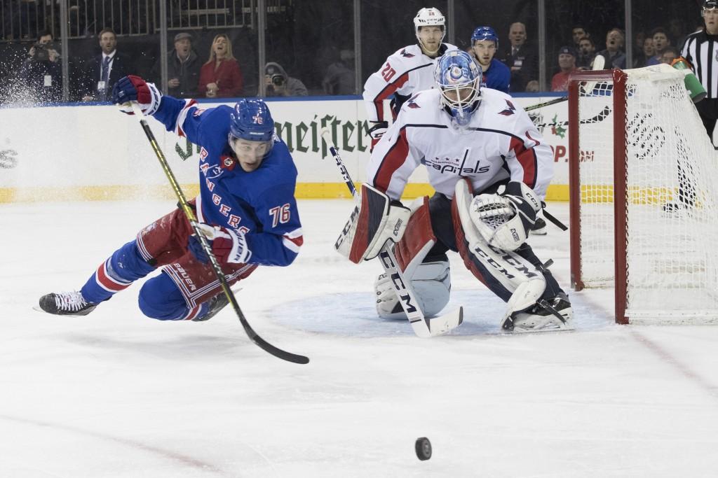 Washington Capitals goaltender Pheonix Copley (1) tends the net against New York Rangers defenseman Brady Skjei (76) during the second period of an NH...