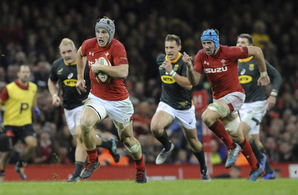 Wales Jonathan Davies makes a break during the rugby union international match between Wales and South Africa at the Principality Stadium in Cardiff, ...
