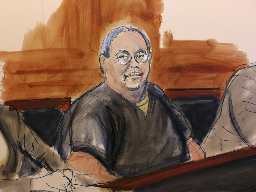 FILE - In this Feb. 5, 2018 courtroom sketch, former Hong Kong home affairs secretary Dr. Chi Ping Patrick Ho, a prominent businessman charged in a Un...