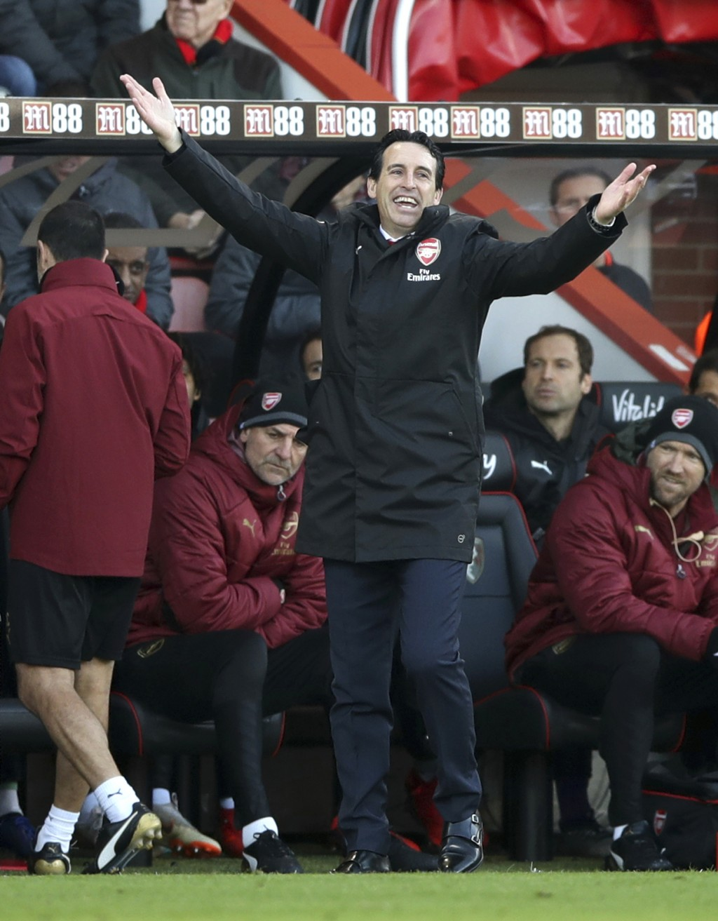 Arsenal head coach Unai Emery reacts during a Premier League soccer match between Bournemouth and Arsenal, at The Vitality Stadium, Bournemouth, Sunda...