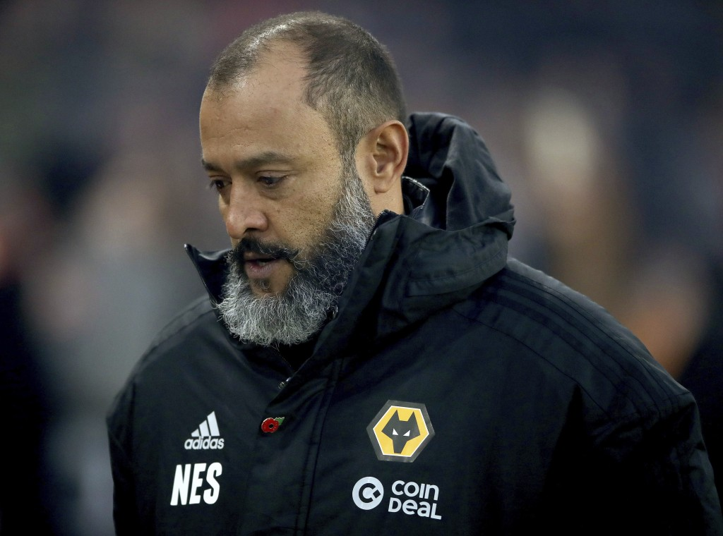 Wolverhampton Wanderers manager Nuno Espirito Santo before the game against Huddersfield Town, during their English Premier League soccer match at Mol...