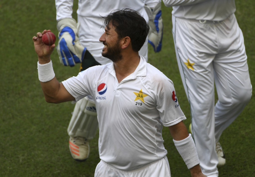 Pakistan's bowler Yasir Shah reacts as he leaves the pitch during a cricket test match against New Zealand in Dubai, United Arab Emirates, Monday, Nov