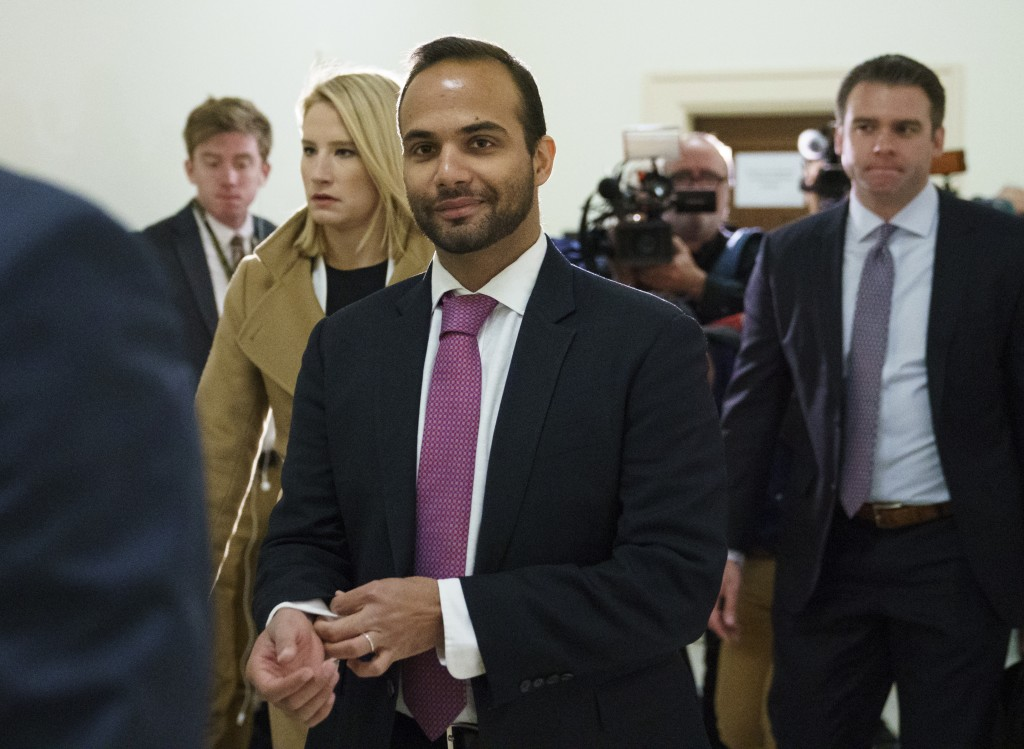 FILE - In this Oct. 25, 2018, file photo, George Papadopoulos, the former Trump campaign adviser who triggered the Russia investigation, arrives for h...