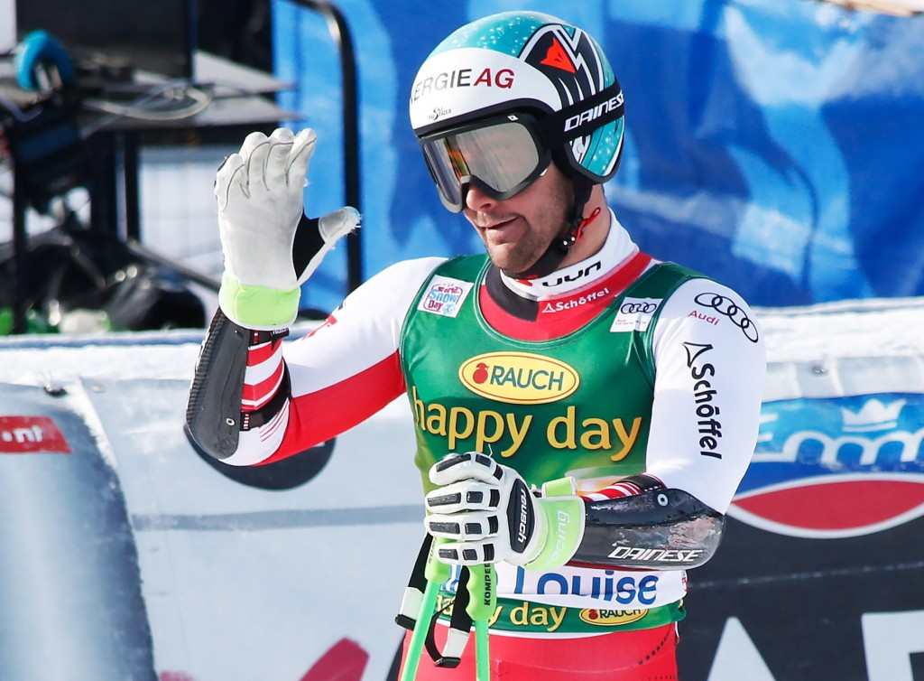 Vincent Kriechmayr, of Austria, reacts in the finish area at the men's World Cup super-G ski race at Lake Louise, Alberta, Sunday, Nov. 25, 2018. (Jef...