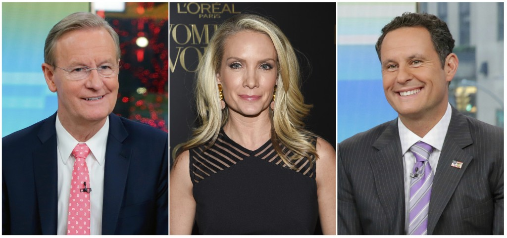 This combination of photos shows Fox News Channel personalities, from left, Steve Doocy, Dana Perino and Brian Kilmeade. Doocy will host a cooking sho