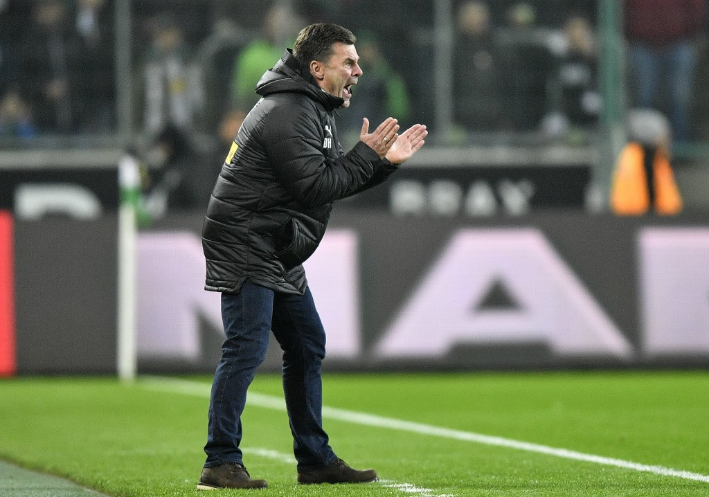 Moenchengladbach coach Dieter Hecking reacts during the German Bundesliga soccer match between Borussia Moenchengladbach and Hannover 96 at the Boruss...