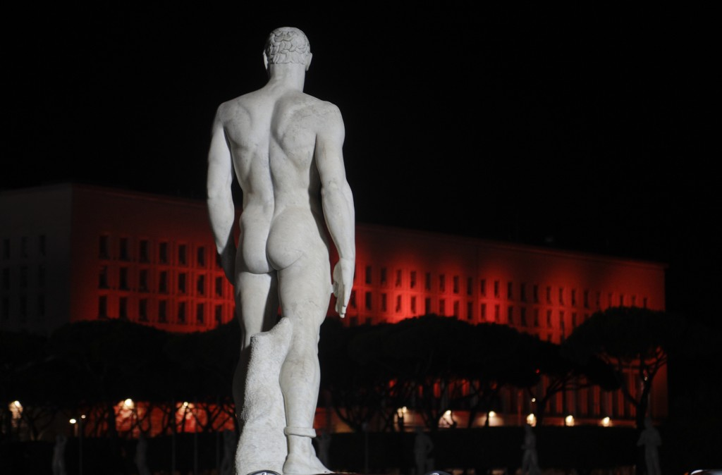 The Farnesina Italian foreign ministry headquarters are illuminated in red on the occasion of the International Day for the Elimination of Violence ag...