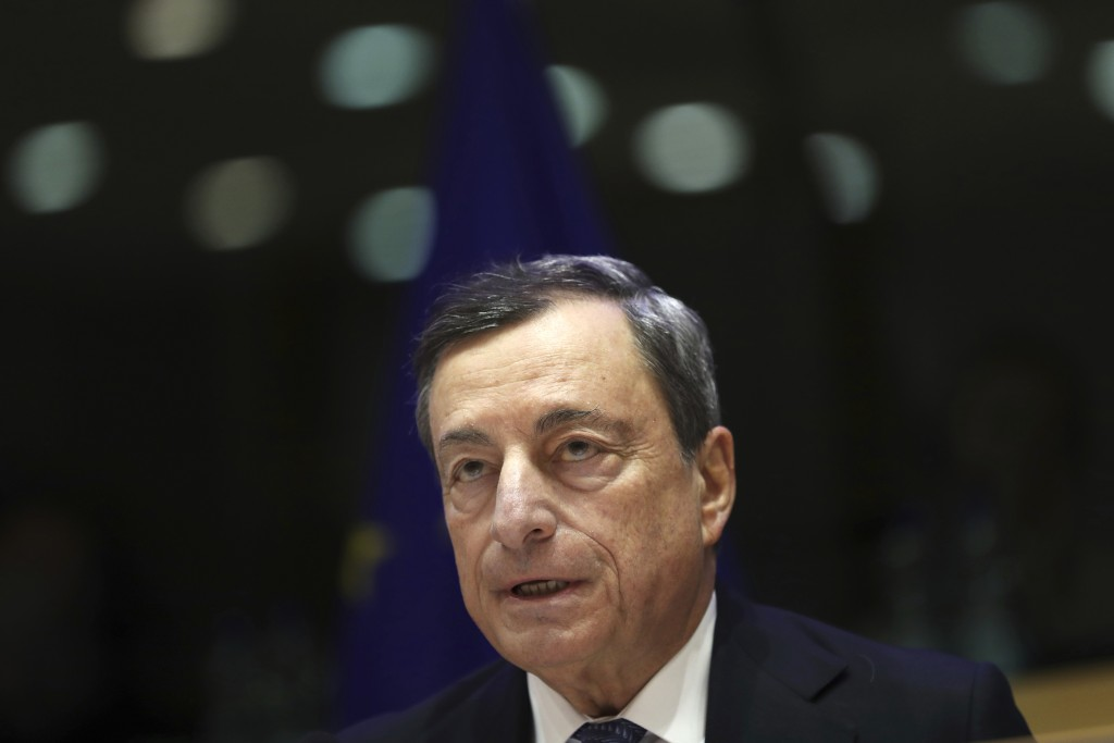 European Central Bank President Mario Draghi speaks during an Economic and Monetary Affairs meeting at the European Parliament in Brussels, Monday, No...