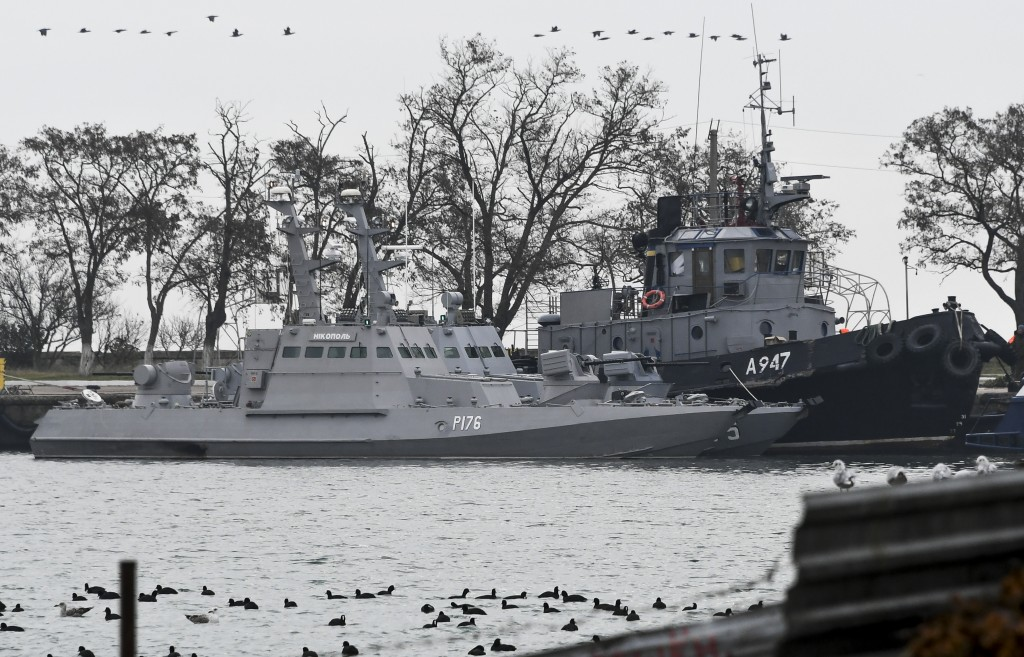 The damage on one of three Ukrainian ships is seen docked after been seized ate Sunday, Nov. 25, 2018, in Kerch, Crimea, Monday, Nov. 26, 2018. The Uk