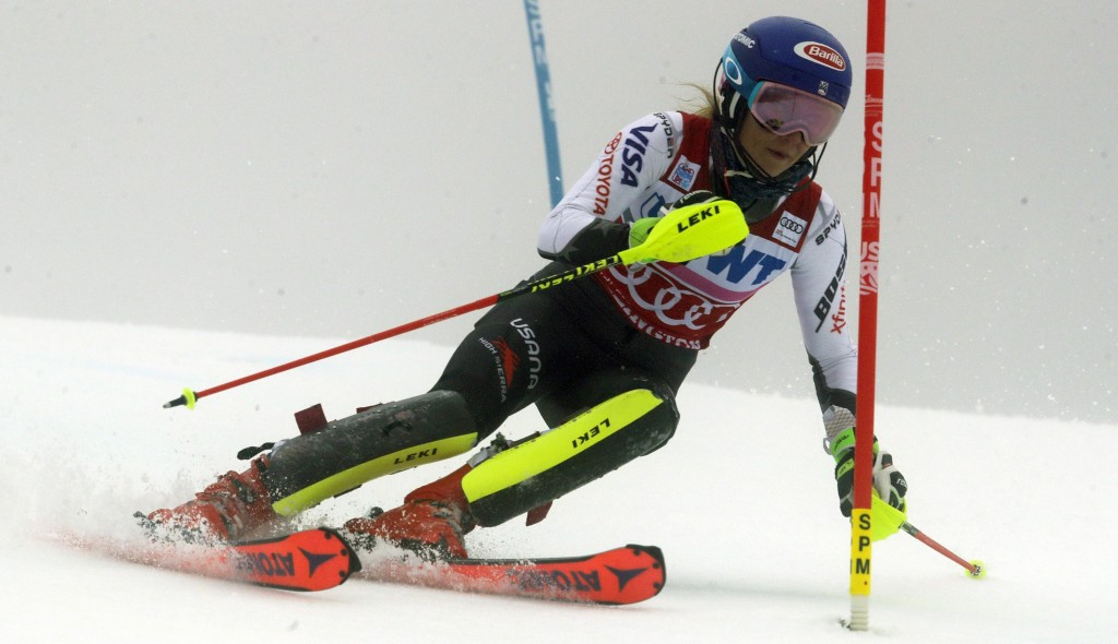 United States' Mikaela Shiffrin competes during the first run of the alpine ski, women's World Cup slalom in Killington, Vt., Sunday, Nov. 25, 2018. (