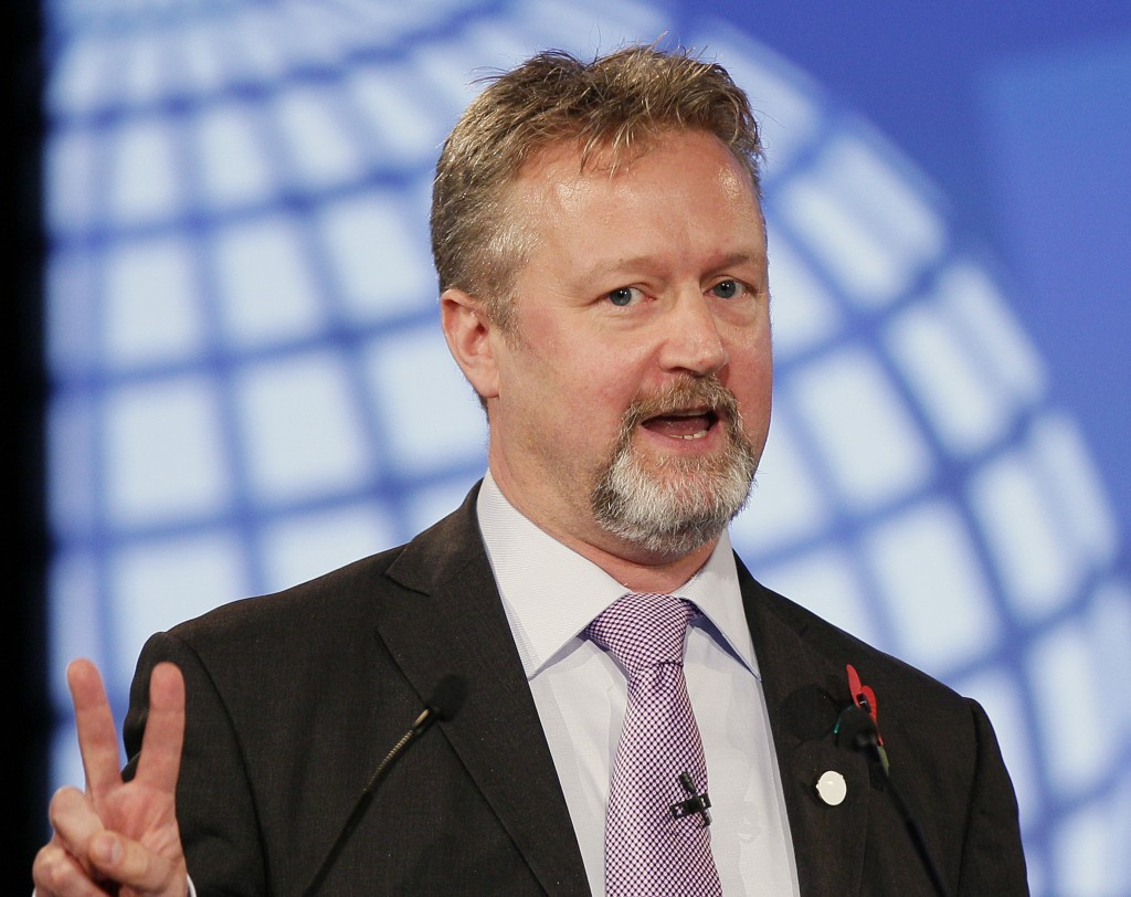FILE - In this file photo dated Tuesday, Nov. 1, 2011, Richard Allan, Facebook's Director of Policy for Europe, gestures as he speaks at the London Cy...