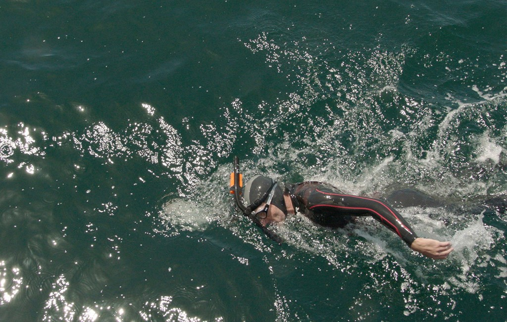 In this undated photo provided on Nov. 26, 2018, by Seeker, Ben Lecomte swims in the Pacific Ocean. (Seeker via AP)