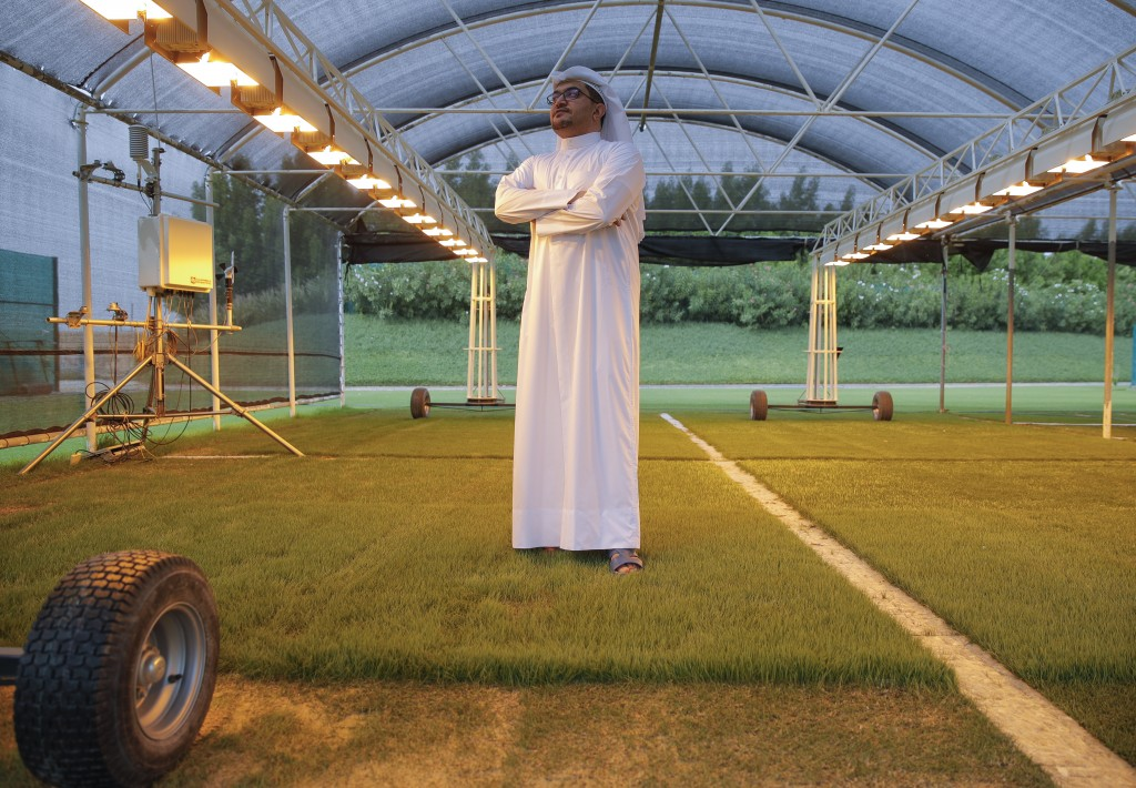 In this Wednesday, Oct. 31, 2018 picture, Yasser Al Mulla - Landscape and Sport Turf Management Senior Manager, Competition Venues, speaks during an i