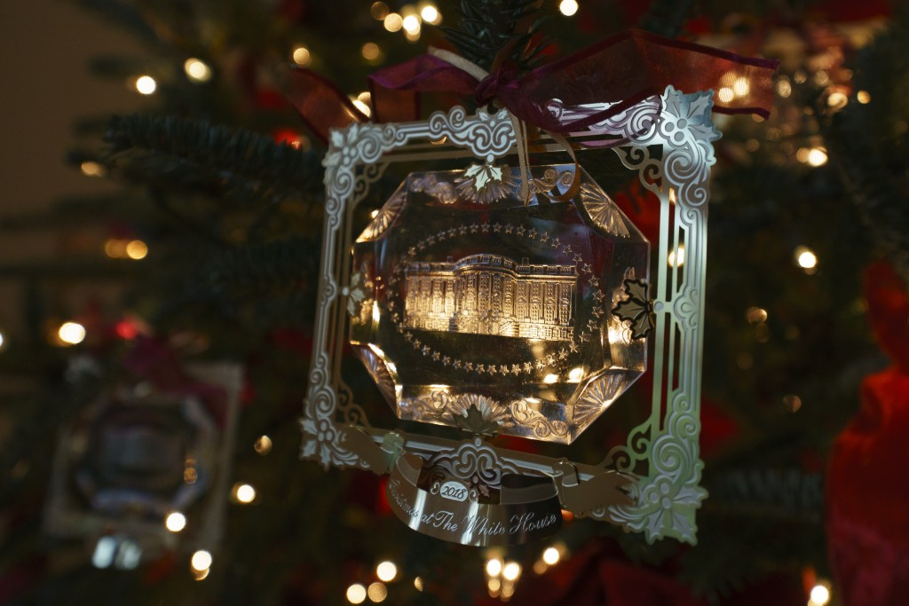 The First Family's official Christmas ornament is seen during the press preview at the White House in Washington, Monday, Nov. 26, 2018. Christmas has