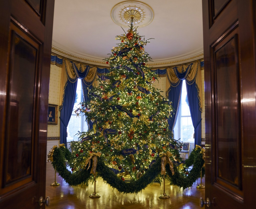 The official White House Christmas tree is seen in the Blue Room during the 2018 Christmas Press Preview at the White House in Washington, Monday, Nov