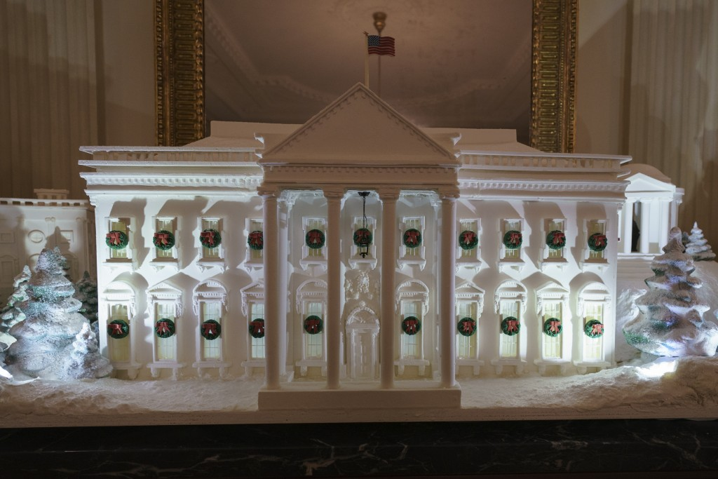 The gingerbread house, showcasing the full expanse of the National Mall: the Capitol, the Lincoln Memorial, the Jefferson Memorial, the Washington Mon...