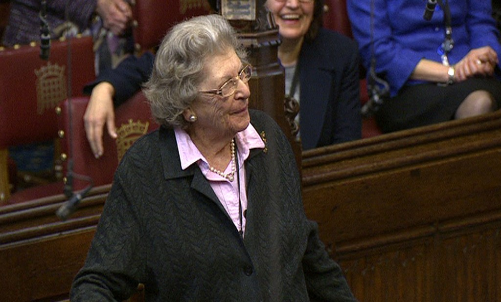 This April 13, 2010 image made available on Tuesday, Nov. 27, 2018 shows British politician Jean Baker, better known by her title Baroness Trumpington