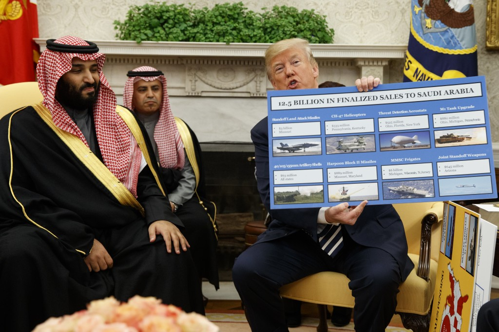 FILE - In this March 20, 2018 file photo, President Donald Trump shows a chart highlighting arms sales to Saudi Arabia during a meeting with Saudi Cro