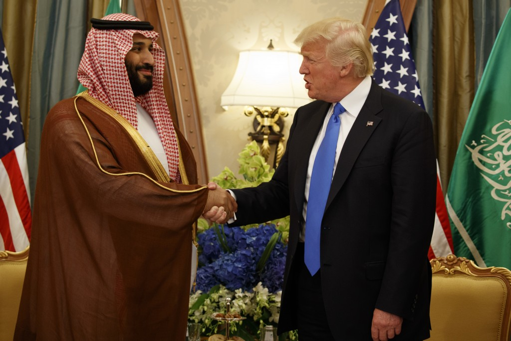 FILE - In this May 20, 2017, file photo, President Donald Trump shakes hands with Saudi Crown Prince Mohammed bin Salman, in Riyadh, Saudi Arabia. Sal...