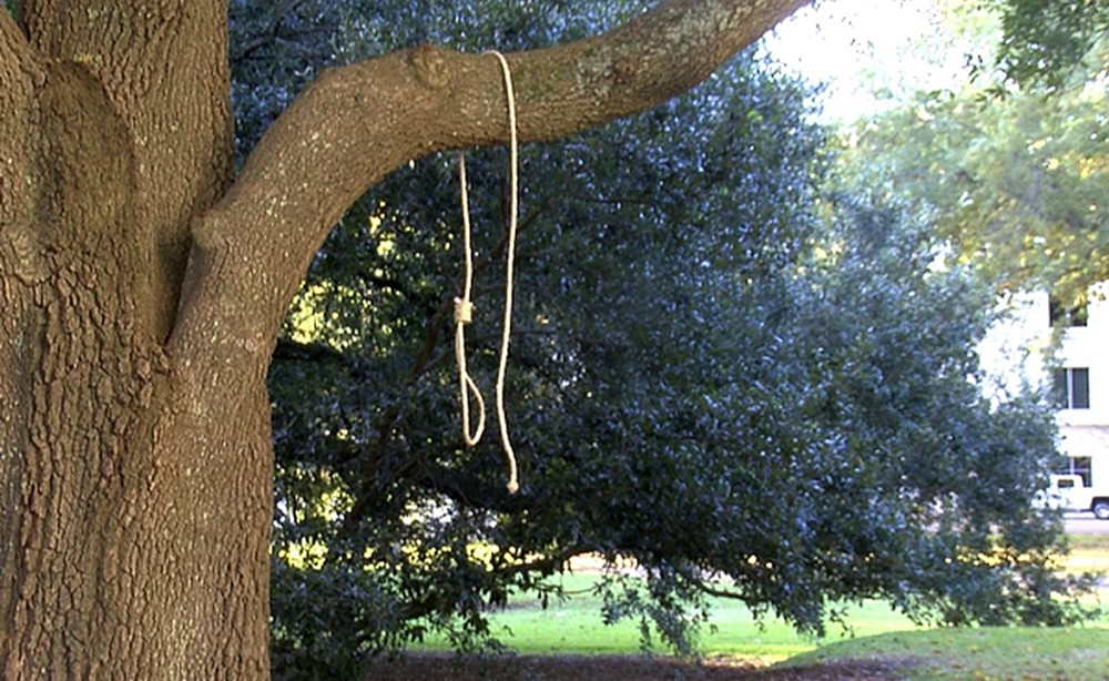 In this photo provided by WLBT-TV a noose hangs on a tree on the state capitol grounds in Jackson, Miss. on Monday, Nov. 26, 2018. A Mississippi offic...