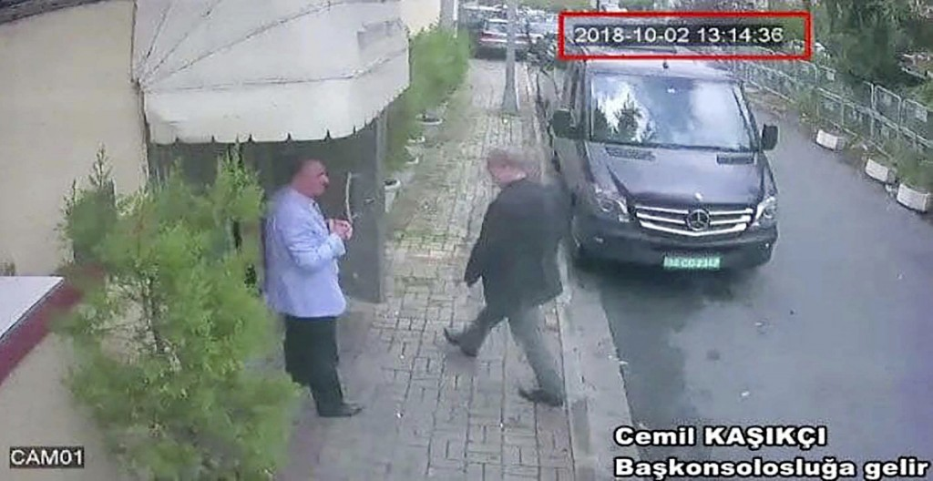 FILE - In this Oct. 2, 2018file image taken from CCTV video obtained by the Turkish newspaper Hurriyet, shows Saudi journalist Jamal Khashoggi enterin...