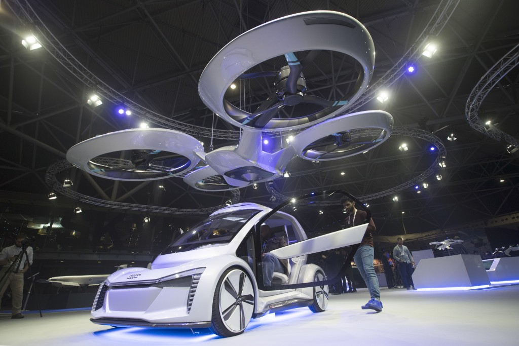 Pop.Up Next, a prototype designed by Audi, Airbus and Italdesign is displayed at the Amsterdam Drone Week in Amsterdam, Netherlands, Tuesday, Nov. 27,