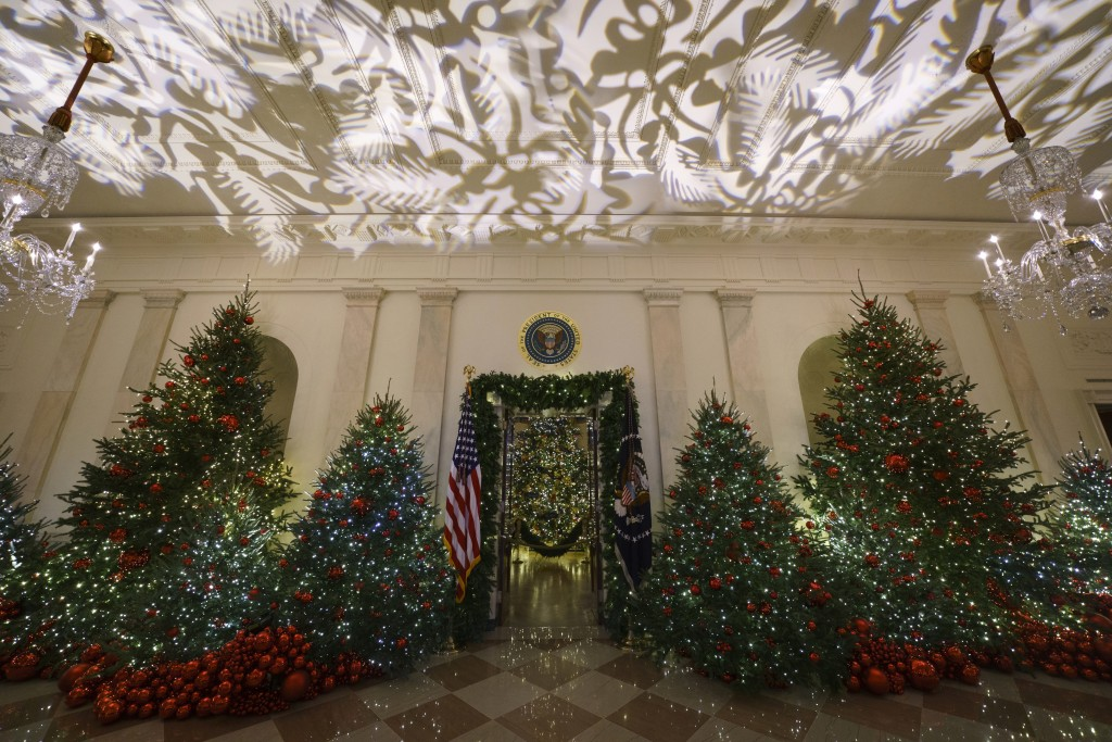 The Grand Foyer and Cross Hall leading into the Blue Room and the official White House Christmas tree are viewed during the 2018 Christmas preview at