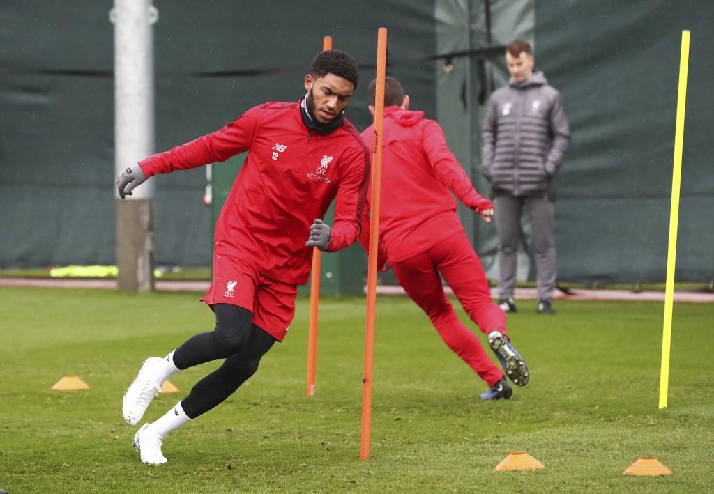 Liverpool's Joe Gomez attends a training session at Melwood Training Centre, Liverpool, England, Tuesday Nov. 27, 2018. (Martin Rickett/PA via AP)