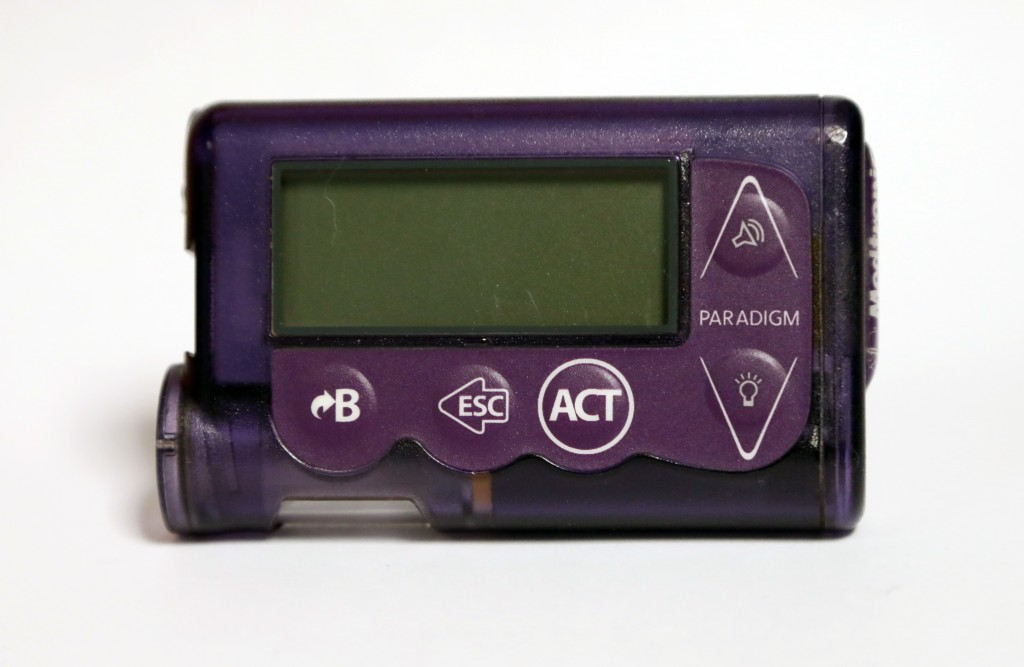 This Nov. 14, 2018 photo taken in Jackson, Miss., shows the Medtronic Paradigm REAL-Time Revel insulin pump of Polly Varnado's daughter. Medical devic...
