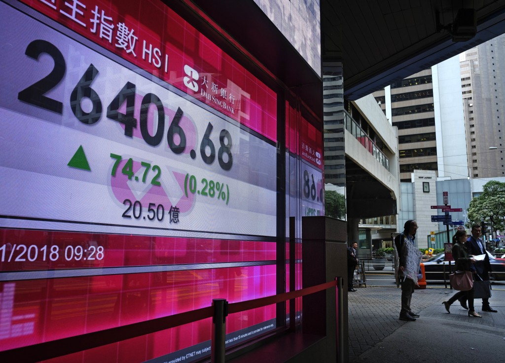 People walk past a bank electronic board showing the Hong Kong share index at Hong Kong Stock Exchange Wednesday, Nov 28, 2018. Asian shares were mixe...