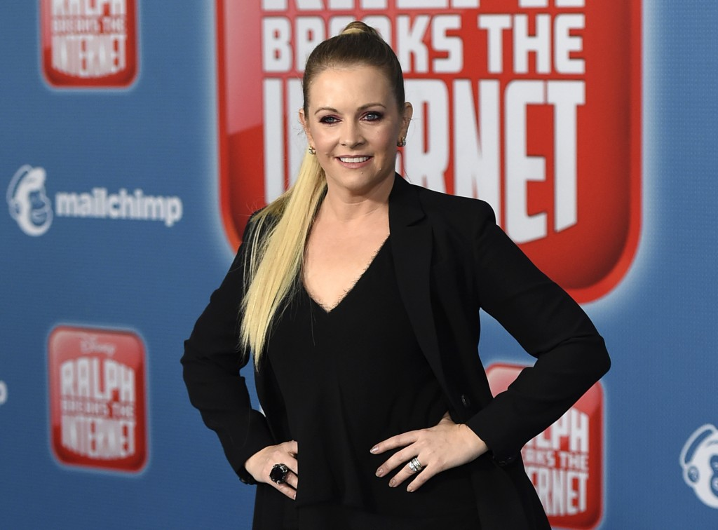 """FILE - In this Nov. 5, 2018 file photo, Melissa Joan Hart arrives at the Los Angeles premiere of """"Ralph Breaks the Internet."""" Hart stars in """"A Very Nu"""