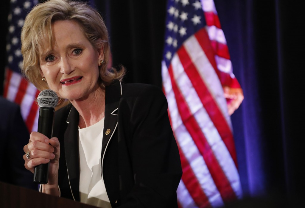 Republican U.S. Sen. Cindy Hyde-Smith speaks to her supporters as she celebrates her runoff win over Democrat Mike Espy in Jackson, Miss., Tuesday, No