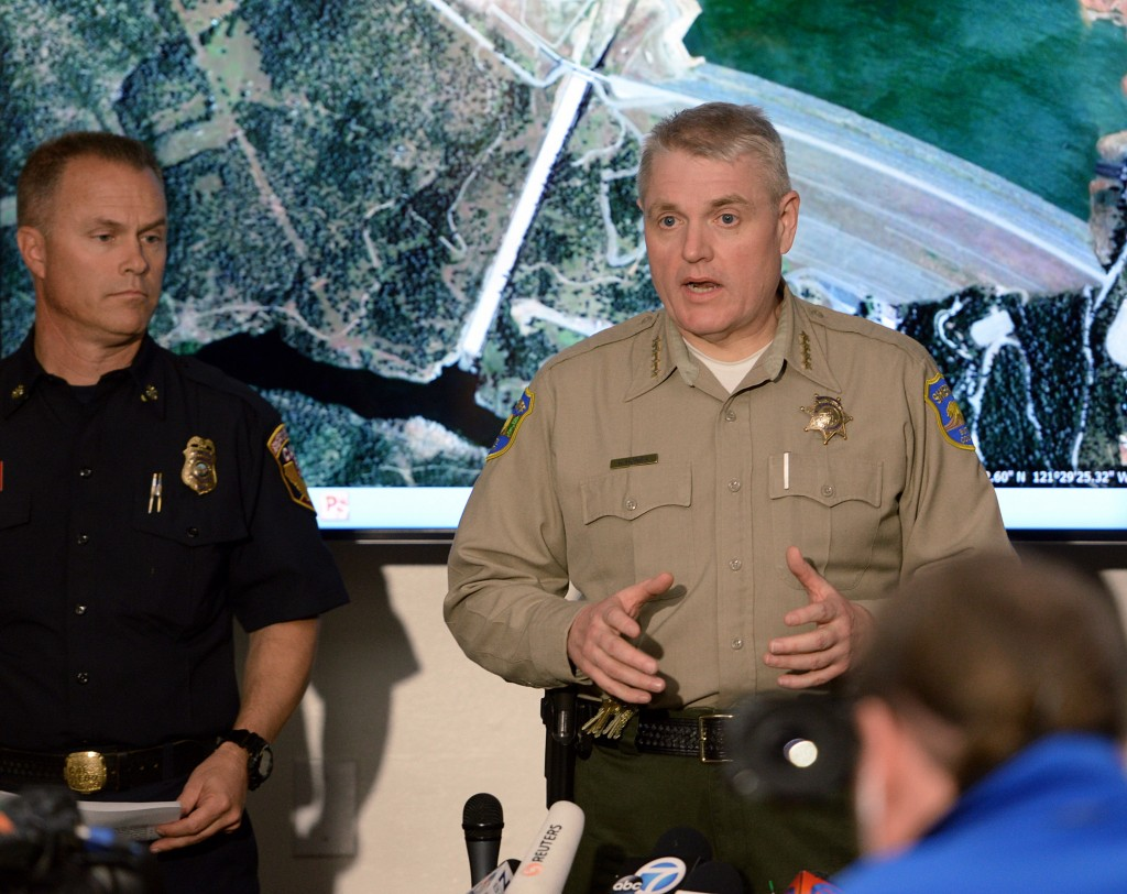 FILE - In this Feb. 13, 2017, file photo, Butte County Sheriff Kory Honea talks about mandatory evacuations due to the Oroville Dam disaster during a ...