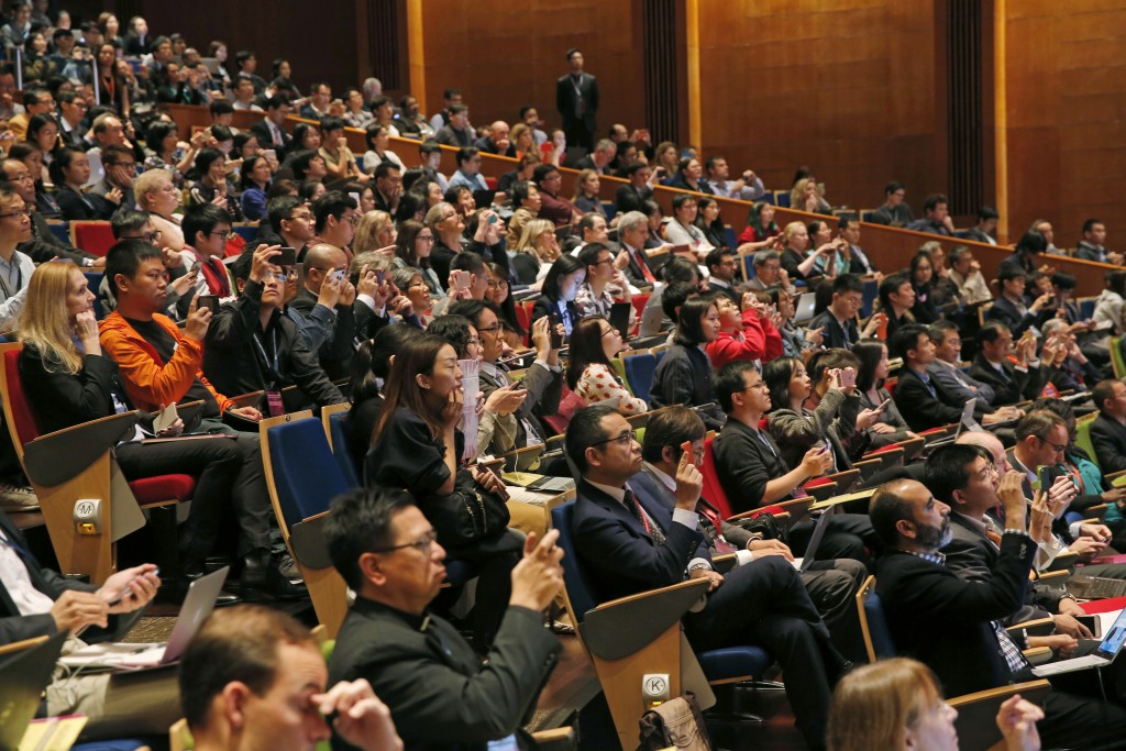 The audience reacts as He Jiankui, a Chinese researcher, speaks during the Human Genome Editing Conference in Hong Kong, Wednesday, Nov. 28, 2018. A C...
