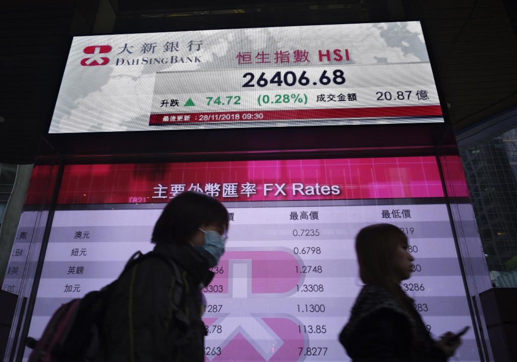 People walk past a bank electronic board showing the Hong Kong share index at Hong Kong Stock Exchange Wednesday, Nov 28, 2018. Asian shares were mixe