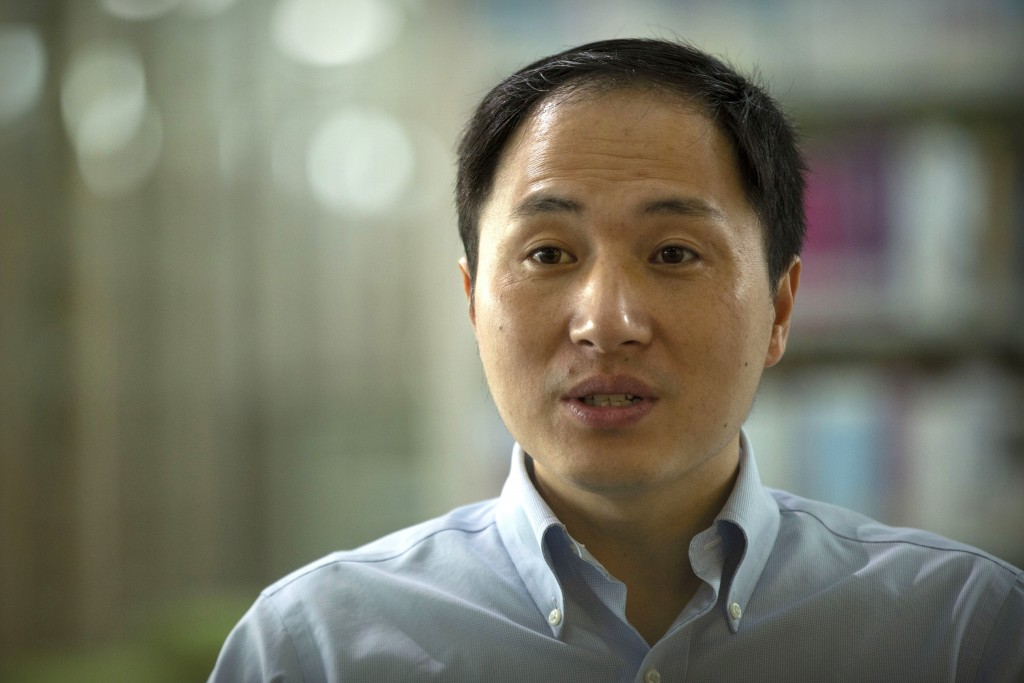 In this Oct. 10, 2018, photo, scientist He Jiankui speaks during an interview in Shenzhen in southern China's Guandong province. China's government on