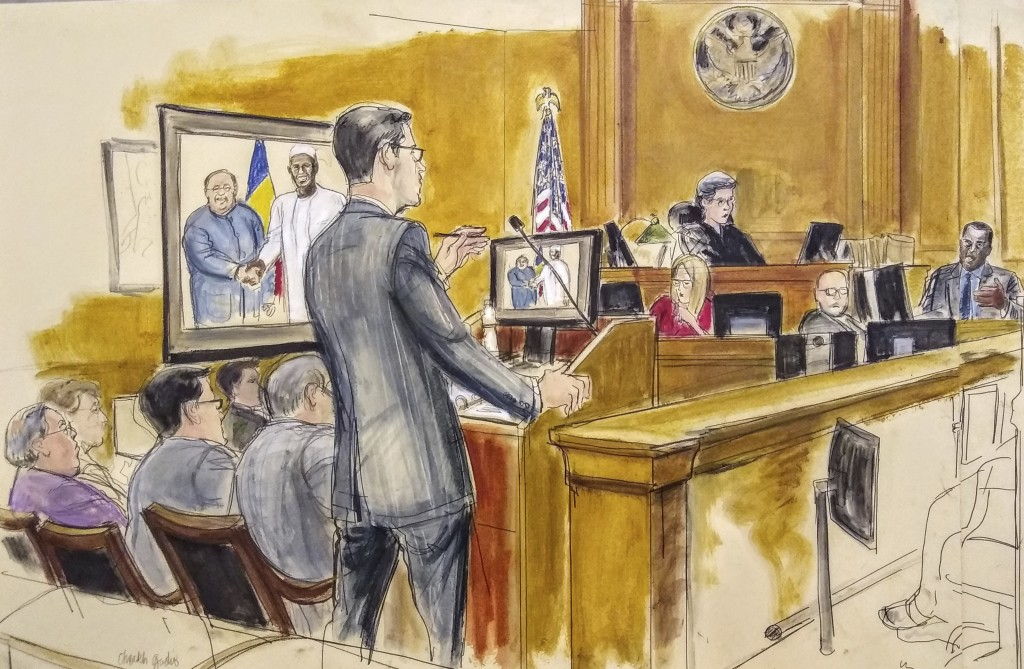 In this courtroom drawing, Assistant U.S. Attorney Douglas Zolkind, standing, addresses cooperating witness Cheikh Gadio, far right, during Hong Kong